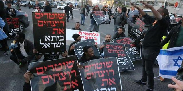 הפגנת האתיופים בתל אביב בינואר השנה, צילום: מוטי קמחי