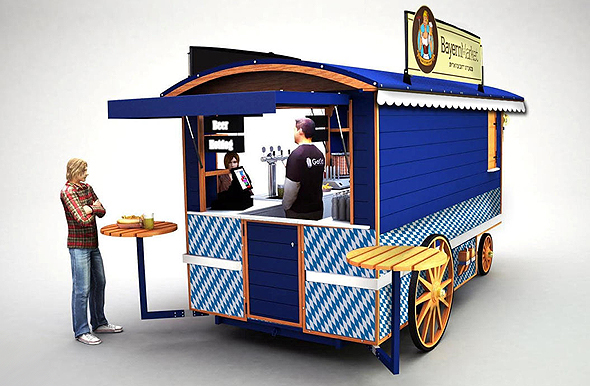 הדמיית עגלות המזון של ביירן מרקט. חצי ממחיר הקמת סניף