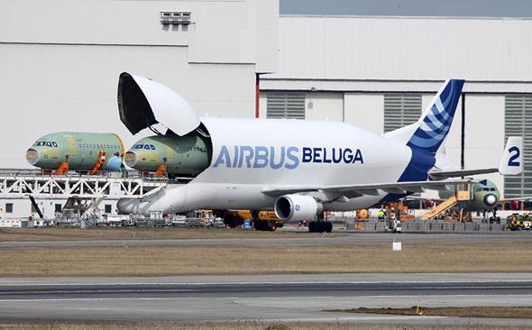 מטוס מטען מיוחד מעביר חלקי איירבוס בין מפעלי החברה באירופה, צילום: (Aeroprints (CC BY-SA 3.0