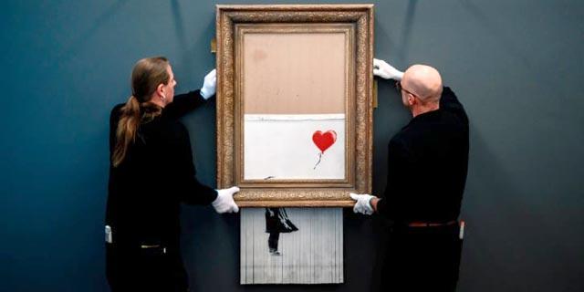 5 חודשים אחרי הגריסה: הציור של בנקסי מוצג שוב לציבור