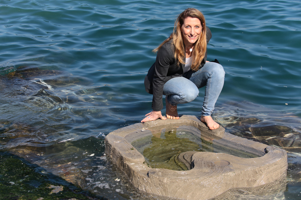 ECOncrete CEO Shimrit Perkol-Finkel on one of the Jaffa tide pools. Photo: ECOncrete