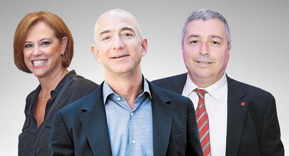 """מימין: מנכ""""ל הפועלים אריק פינטו, ג'ף בזוס ומנכ""""ל לאומי רקפת רוסק עמינח"""