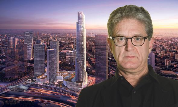האדריכל ג'יימי פון קלמפרר אדריכל על רקע הדמיה של מגדל הספירלה בעזריאלי