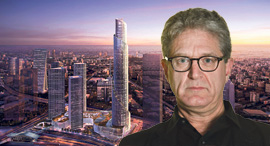 """מגזין נדל""""ן 13.2.19 ג'יימי פון קלמפרר אדריכל על רקע הדמיה של מגדל הספירלה, צילומים: KPF , אוראל כהן"""