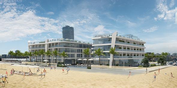 המלון על חוף הים באשדוד. השקעה של 90 מיליון שקל , הדמיה: לאה רובננקו אדריכלים