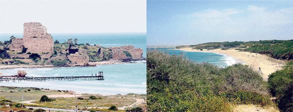 """מימין: חוף פלמחים ומבצר עתלית. מוגדרים כיום כ""""מכלול חוף עם הוראות מיוחדות"""", שניתן להקצות בו ייעודים שיהיו בזיקה לחוף"""