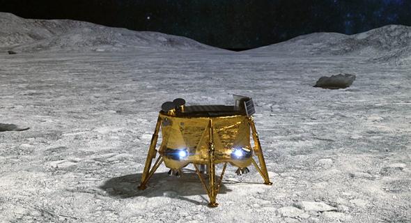 """הדמייה: החללית """"בראשית"""" לאחר הנחיתה על הירח, צילום: IAI"""