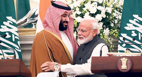 ראש ממשלת הודו נרנדרה מודי ובן סלמאן. משתלבים בתוכנית של יורש העצר