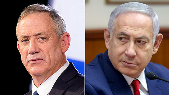 """מימין ראש הממשלה בנימין נתניהו ויו""""ר חוסן לישראל בני גנץ , צילומים: אי פי איי"""