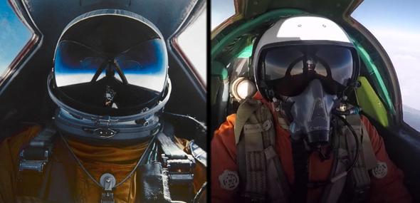 מימין: טייס מיג 31 רוסי באוויר, טייס SR71 אמריקאי באוויר