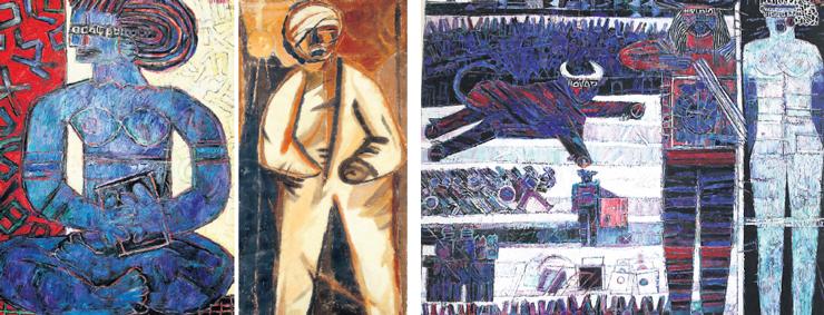 """יצירות של טמיר. מימין: """"מחווה לדאלי"""" (1970), """"אמנון הפצוע"""" (1948) ו""""אשה יושבת"""" (1990). פרסלר קנה את העיזבון במחיר של כ־700 שקל ליצירה. בתוך יממה הוא מכר ציור ב־15 אלף שקל, צילום: יחצ, משה טמיר, אלכס קולומויסקי"""