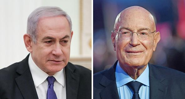 מימין ארנון מילצ'ן מיליונר ישראלי אמריקאי וראש הממשלה בנימין נתניהו, צילום: אם סי טי, אי פי איי