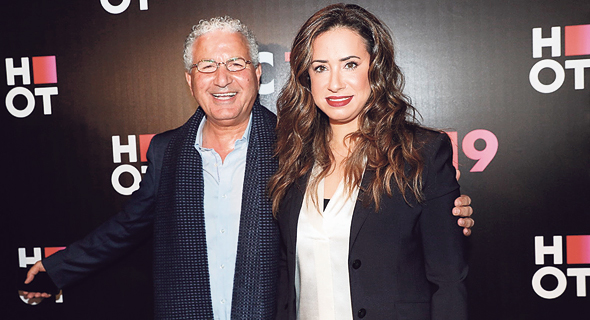 טל גרנות גולדשטיין ו משה אדרי מסיבת עיתונאים של הוט, צילום: רפי דלויה