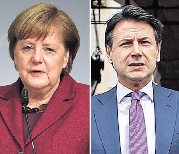 מימין ראש ממשלת איטליה ג'וזפה קונטה וקנצלרית גרמניה אנגלה מרקל, צילום: אי פי איי