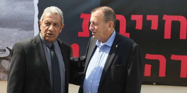 מסיבת עיתונאים נגד סגירת שדה דב. מימין: רון חולדאי ומאיר יצחק הלוי, צילום: מוטי קמחי