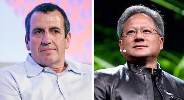 """ג'נסן הואנג מייסד ומנכ""""ל אנווידיה ו אייל ולדמן מייסד מלאנוקס, צילום: nvidia, אוראל כהן"""