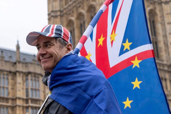 מפגינים נגד הברקזיט ליד הפרלמנט בלונדון היום