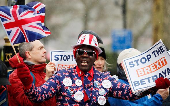מפגין ב לונדון נגד ה ברקזיט 12.3.19, צילום: איי פי
