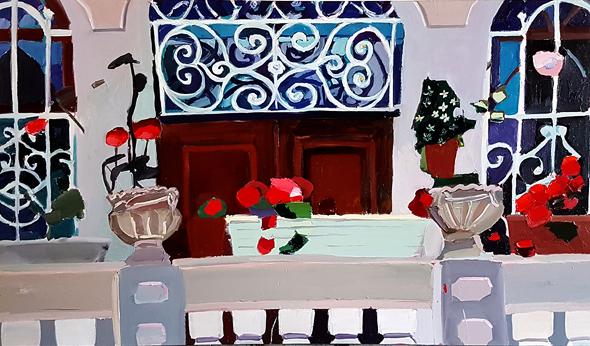 """ציור מרפסת בית ערבי בוואדי ניסנס, שמוצג במוזיאון פתח תקווה. """"זה הנוף של הבית שלי, חלק ממני"""""""