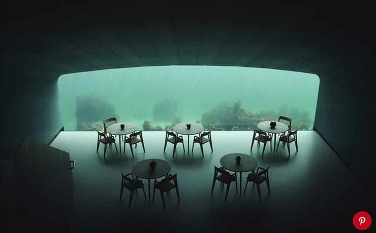 חלל המסעדה התת מימי, צילום: Ivar Kvaal/pinterest