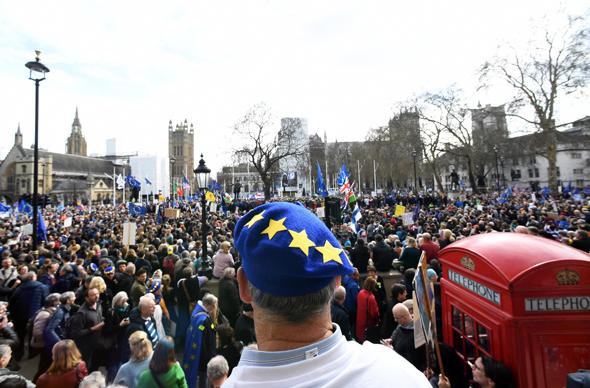 הפגנה ב לונדון נגד ה ברקזיט, צילום: איי פי איי