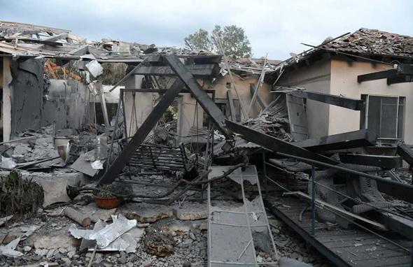 הבית שנפגע במושב משמרת. קרן מס הרכוש תפצה את המשפחה