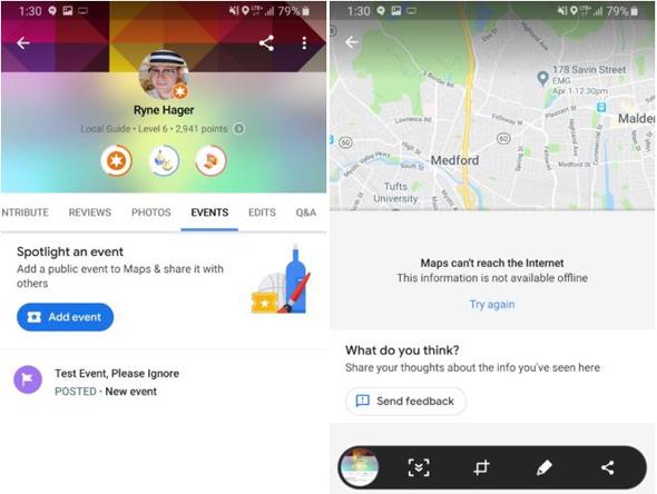 גוגל MAPS אירועים , צילום: androidpolice