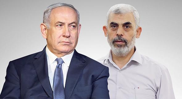 מימין יחיא סנוואר מנהיג חמאס ברצועת עזה וראש ממשלת ישראל בנימין נתניהו, צילום: אי פי איי, אלעד גרשגורן