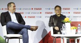 ועידת התעשייה של ישראל ג'ן סון הואנג איל וולדמן בשיחה עם הגר רבט, צילום: עמית שעל