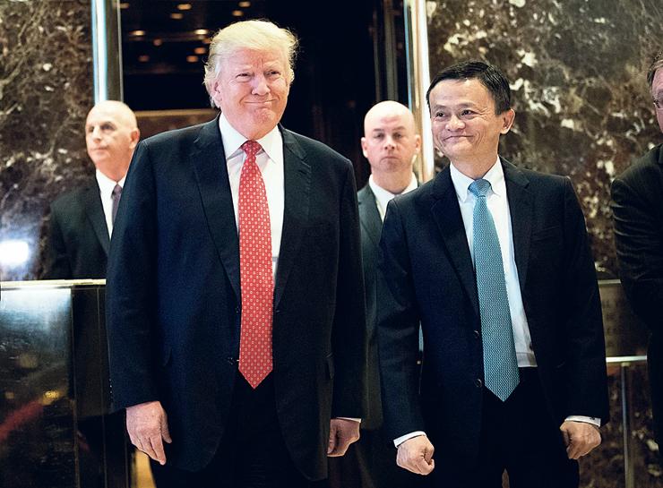 מא וטראמפ בפגישתם, ינואר 2017. מא ניסה למנוע את מלחמת הסחר וכשל
