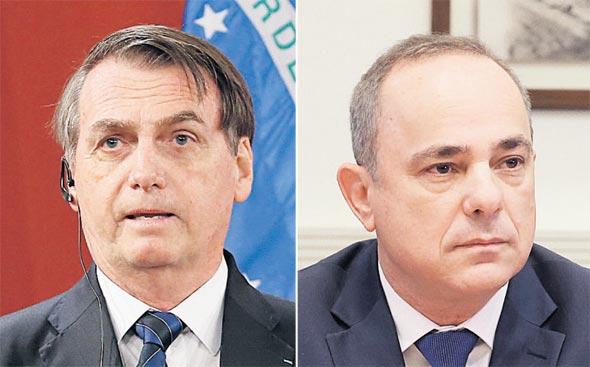 שר האנרגיה יובל שטייניץ ונשיא ברזיל ז'איר בולסונארו, צילומים: אוראל כהן, רויטרס
