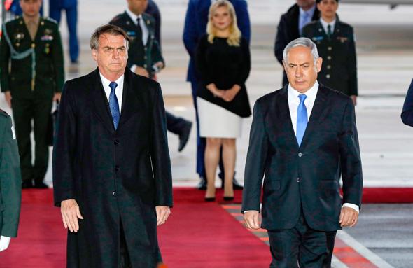 ראש הממשלה בנימין נתניהו ו ז'איר בולסונארו נשיא ברזיל ביקור בישראל, צילום: איי אף פי