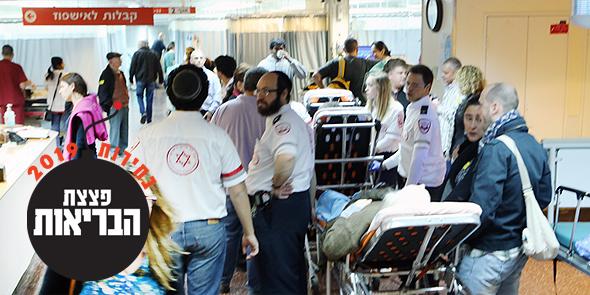 צפיפות בבית החולים שיבא. העומס בבתי החולים צפוי לגדול, צילום: יריב כץ