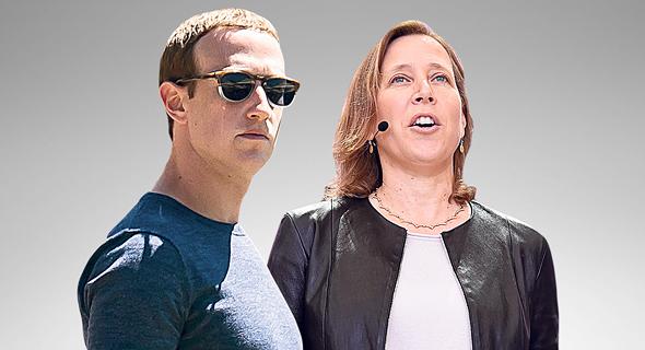"""מימין מנכ""""לית יוטיוב סוזן ווייציצקי ומייסד פייסבוק מארק צוקרברג, צילום: בלומברג"""