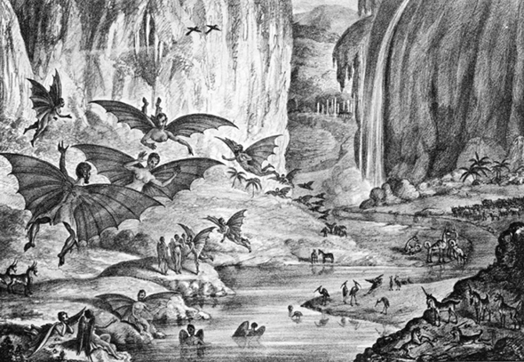 איור אנשי הירח העטלפיים מהניו יורק סאן