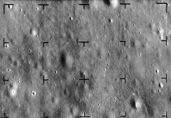 תמונה מפני הירח שסיפקה חללית ריינג'ר לפני התרסקותה