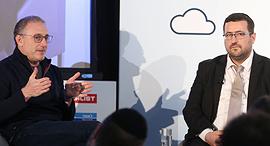 """מימין משה פרידמן מנכ""""ל KamaTech נעם ברדין מנכ""""ל Waze ועידת ניו יורק 2019, צילום: אוראל כהן"""