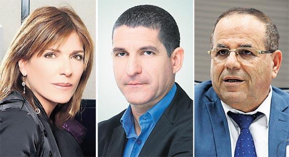 מימין שר התקשורת איוב קרא ניר שוויקי ו מישל קרמרמן, צילומים: עמית שעל, ענבל מרמרי