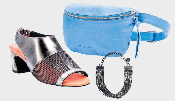 פאוץ', נעל לאשה וצמיד פרנזים מהקולקציה החדשה של דניאלה להבי. צילומים: אייליה מלניקוב, יריב כץ