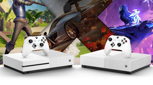 מימין: קונסולת ה-Xbox One S ללא הכונן, והדגם הסטנדרטי, צילום: מיקרוסופט