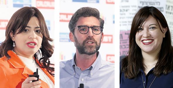 מימין: חדוה קלינהנדלר ממייסדי EMERJ, מו מרניק מייסד Winfluencers וריבקי אייזן ממייסדי YieldsA, צילום: אוראל כהן