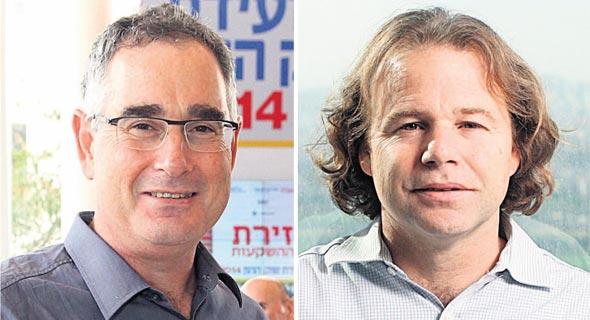 מימין: מנהל ההשקעות של כלל יוסי דורי ומנהל ההשקעות של הפניקס רועי יקיר, צילומים: אוראל כהן, עמית שעל