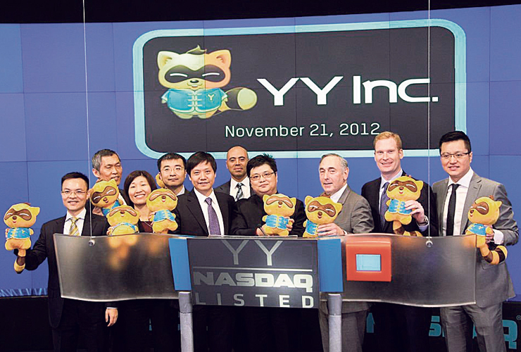"""אנשי YY ביום הנפקתה בנאסד""""ק, נובמבר 2012. שווייה זינק פי 9 בתוך שש שנים"""