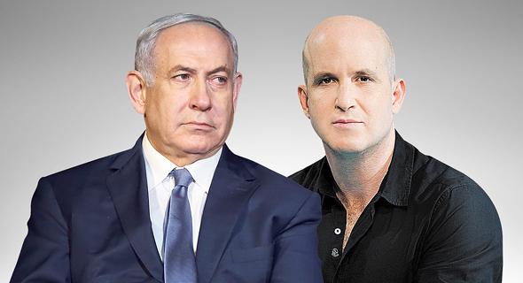 מימין מנכל תאגיד השידור אלדד קובלנץ וראש הממשלה בנימין נתניהו, צילום: איה אפרים, אלעד גרשגורן