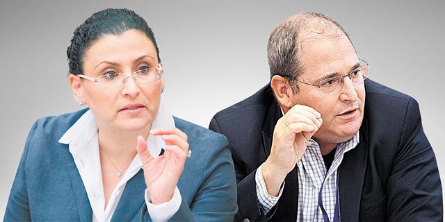 """מימין מנכ""""ל כיל לשעבר ניר גלעד והחשכ""""לית לשעבר מיכל עבאדי בויאנג"""