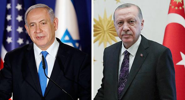מימין נשיא טורקיה רג'פ טאיפ ארדואן וראש ממשלת ישראל בנימין נתניהו, צילום: איי פי