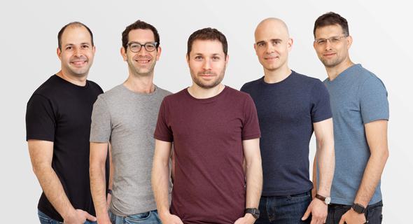 Lightricks' founders Zeev Farbman, Amit Goldstein, Itai Tsiddon, Nir Pochter, Yaron Inger. Photo: PR