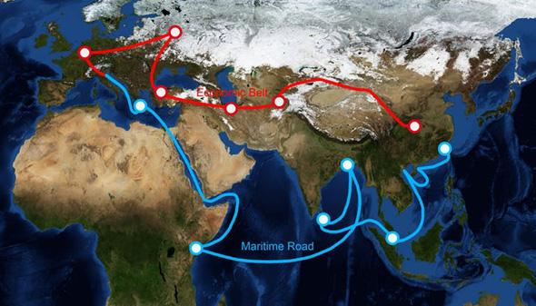 """מפת פרוייקט """"החגורה והדרך"""" הסיני"""