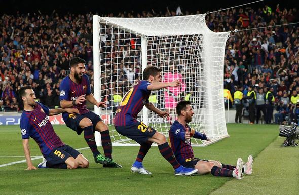 מסי חוגג שער נגד ליברפול במשחק הראשון. בגומלין באנפילד האדומים כבר בלמו אותו והדיחו את ברצלונה