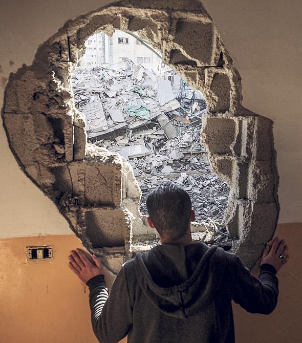 מבנה שנהרס בעזה, צילום: אי פי איי